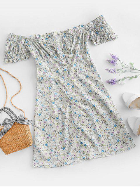 Vestido Floral Abotonado Manga Campana - Multicolor-A L Mobile
