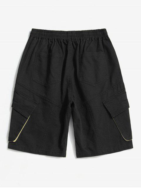 affordable Casual Letter Pattern Pocket Shorts - BLACK M Mobile
