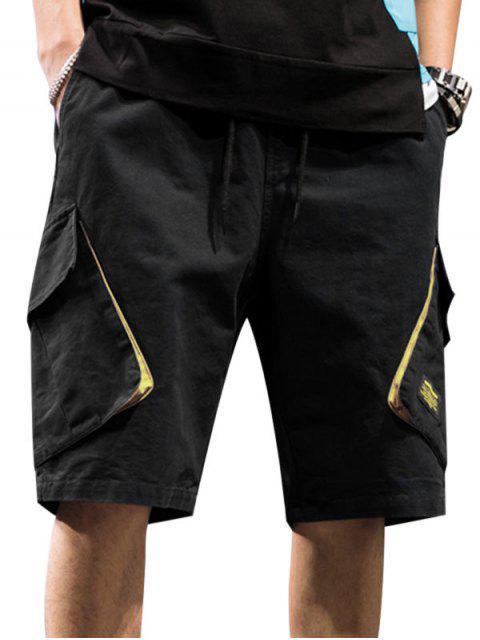 shop Casual Letter Pattern Pocket Shorts - BLACK 3XL Mobile