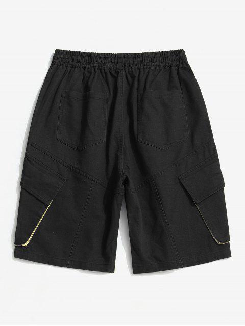 womens Casual Letter Pattern Pocket Shorts - BLACK L Mobile