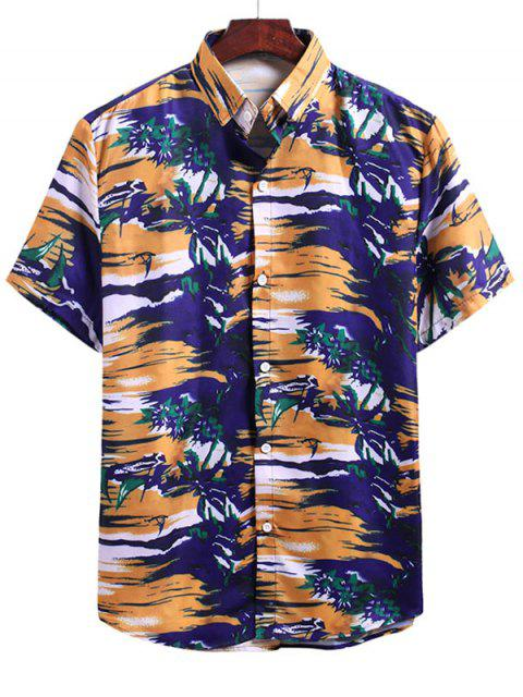 women's Beach Glow Plant Print Vacation Shirt - MULTI-F 2XL Mobile