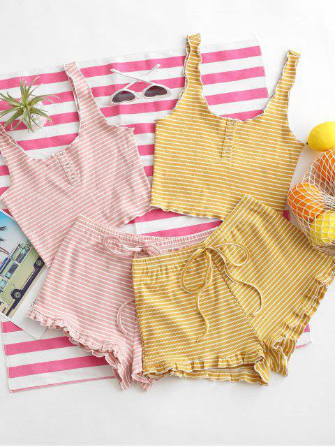 online Ribbed Striped Snap Button Ruffle Shorts Set - PIG PINK L Mobile