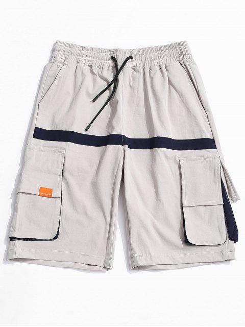 fashion Letter Pattern Pocket Decorated Shorts - PLATINUM 2XL Mobile