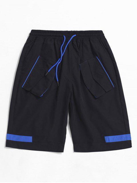 sale Multi-pocket Color Spliced Cargo Shorts - BLACK 3XL Mobile
