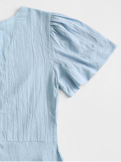 buy V Neck Back Zipper Shadow Stripes Romper - BLUE KOI L Mobile