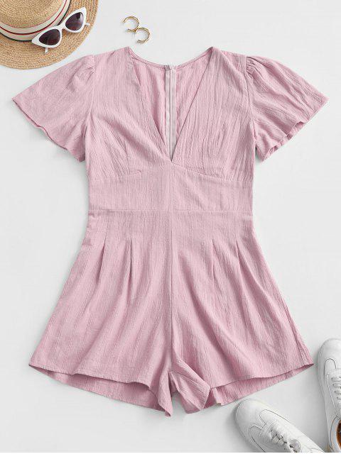 women V Neck Back Zipper Shadow Stripes Romper - PINK ROSE M Mobile