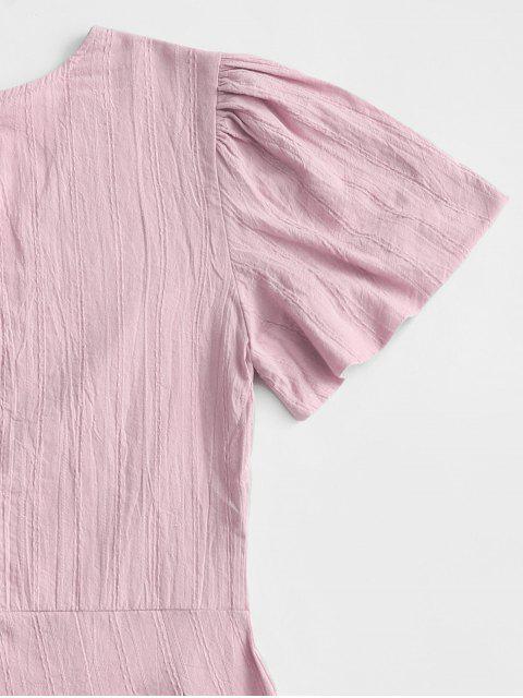 womens V Neck Back Zipper Shadow Stripes Romper - PINK ROSE S Mobile