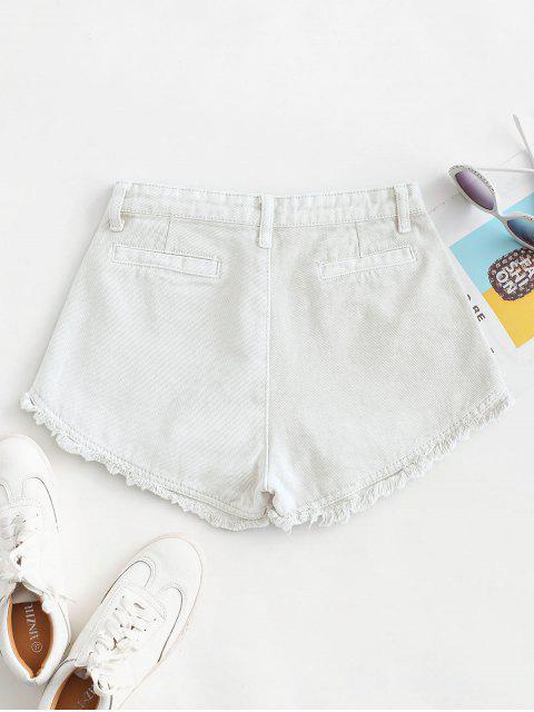 outfit Pockets Frayed Hem Denim Cutoff Shorts - WHITE M Mobile