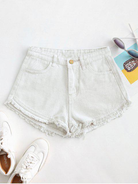 womens Pockets Frayed Hem Denim Cutoff Shorts - WHITE XL Mobile