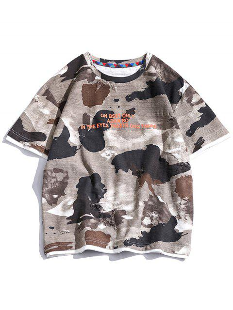 Letter Graphic 2fer Ripped T-shirt - متعددة-A XL Mobile