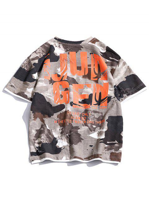 Buchstabe Grafik Knielangen Riss T-Shirt - Multi-A 2XL Mobile