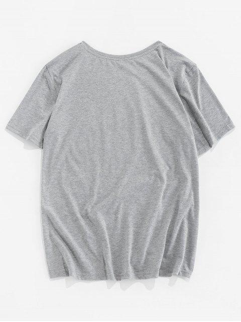 ZAFUL T-shirt Lettre Imprimée à Col Rond - Gris Clair S Mobile
