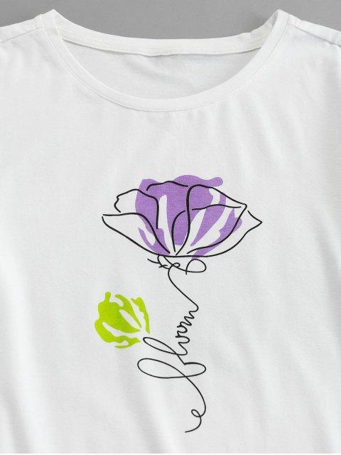 ZAFUL Flor de Mangas Curtas com Estampa de Flor - Branco 2XL Mobile