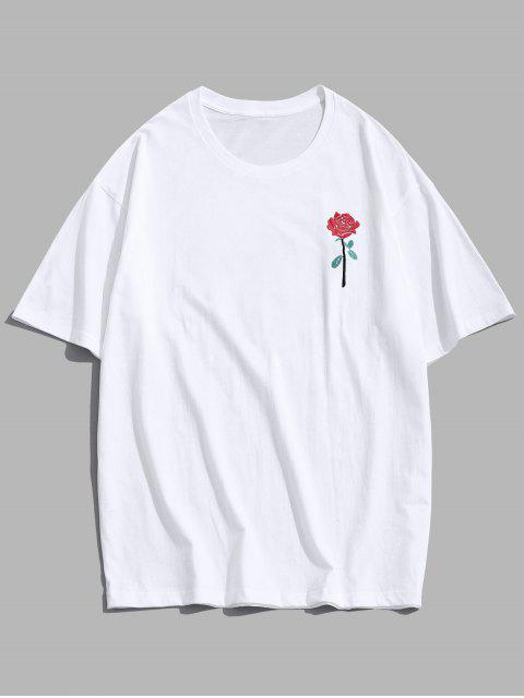 lady ZAFUL Rose Embroidery Short Sleeve T-shirt - WHITE S Mobile