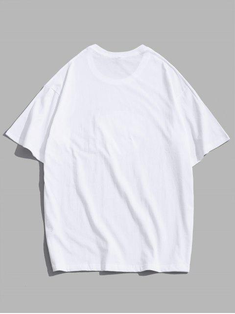 T-Shirt Ricamata a Rosa con Maniche Corte di ZAFUL - Bianca L Mobile