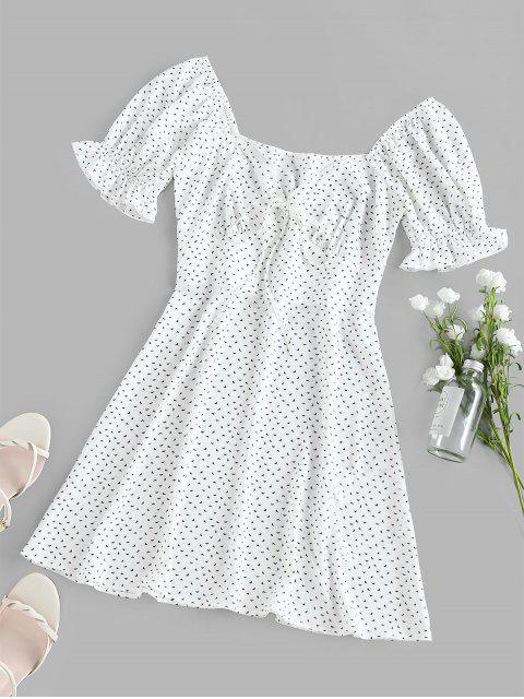 ZAFUL Bedrucktes Dichter Ärmel Empire Taille Kleid - Weiß L Mobile