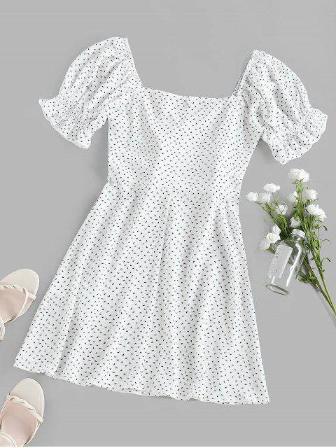 ZAFUL Robe Imprimée à Taille Empire à Manches Longues - Blanc L Mobile