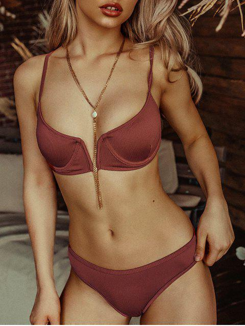 hot ZAFUL Ribbed V-notch Underwire Balconette Bikini Swimsuit - SEPIA M Mobile