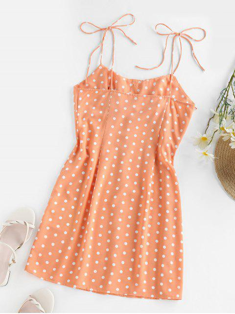 ZAFUL Gebundenes Tupfen Sommerkleid - Orange L Mobile