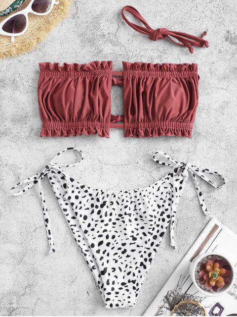 buy ZAFUL Dalmatian Print Ruffle String Bikini Swimwear - CHESTNUT S Mobile