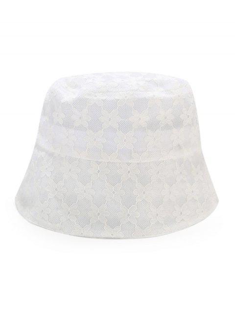 women's Lace Floral Sun Hat - WHITE  Mobile