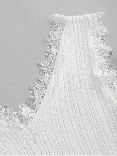 Regata Tricotada com Gola em V e Fecho de Laço Cruzado - Branco Um Tamanho Mobile