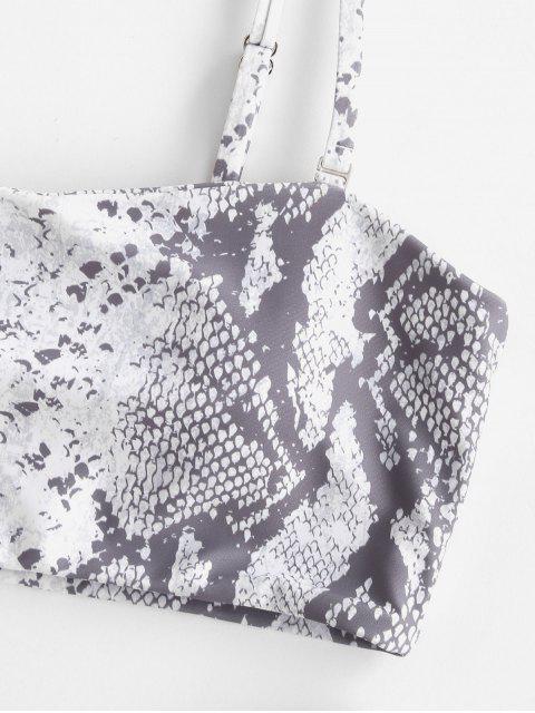 lady ZAFUL Leopard Snake Print Bandeau Bikini - MULTI-D S Mobile
