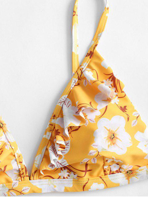ZAFUL Blumen Rüsche Bikini Badebekleidung - Helles Gelb M Mobile