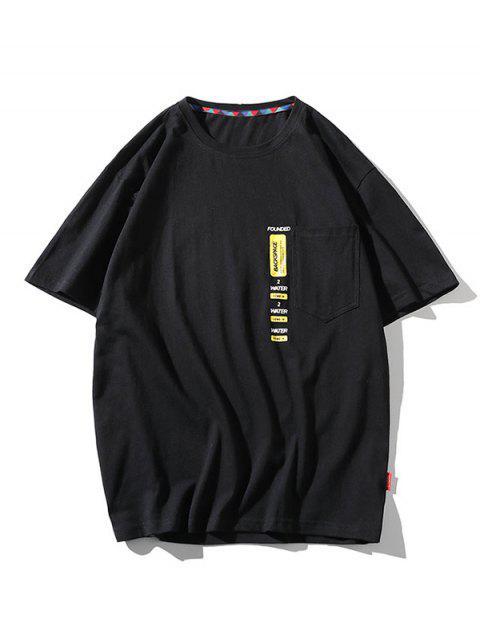 Maglietta a Girocollo con Toppa a Lettera e Tasca - Nero 2XL Mobile