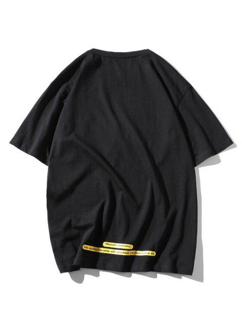 Maglietta a Girocollo con Toppa a Lettera e Tasca - Nero 3XL Mobile