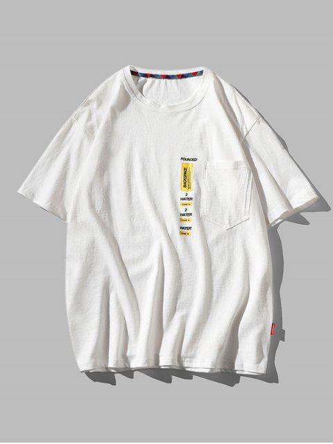 Letter Print Pocket Patch Basic T-shirt - أبيض 3XL Mobile