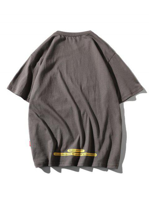 Maglietta a Girocollo con Toppa a Lettera e Tasca - Grigio 2XL Mobile