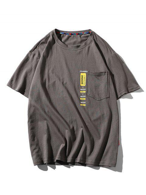 Letter Print Pocket Patch Basic T-shirt - اللون الرمادي 3XL Mobile