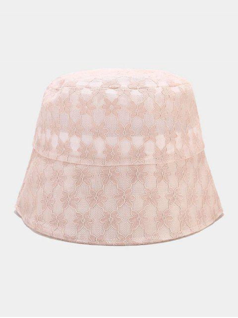 trendy Lace Floral Sun Hat - PINK  Mobile