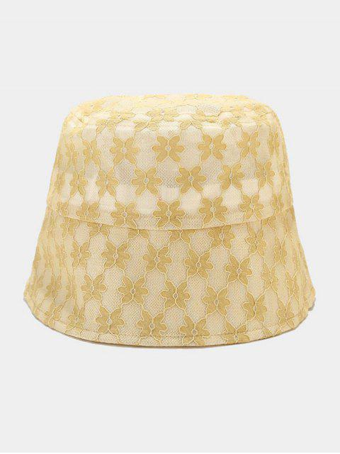 fashion Lace Floral Sun Hat - YELLOW  Mobile