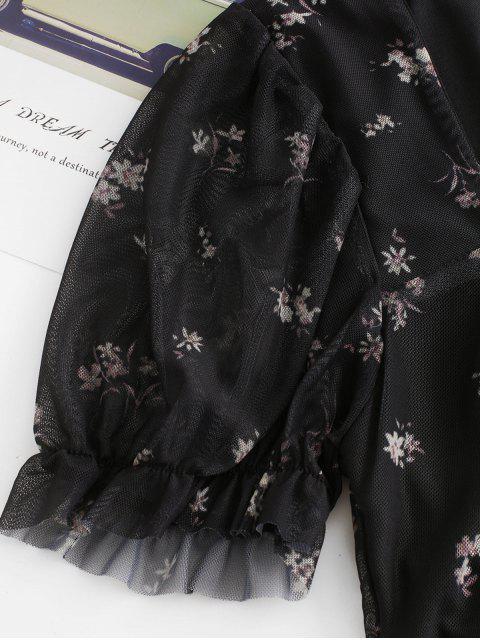 hot Ditsy Floral Cinched Front Mesh Blouse - BLACK M Mobile