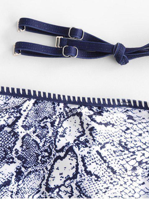 outfit ZAFUL Whip Stitch Lace-up Leopard Dalmatians Snake Print Bikini Swimsuit - MULTI-D M Mobile