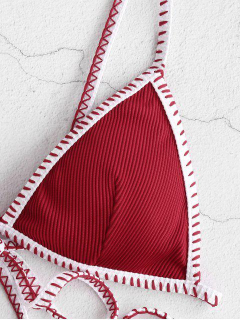 shops ZAFUL Whip Ribbed Tie String Bikini Swimsuit - RED WINE S Mobile