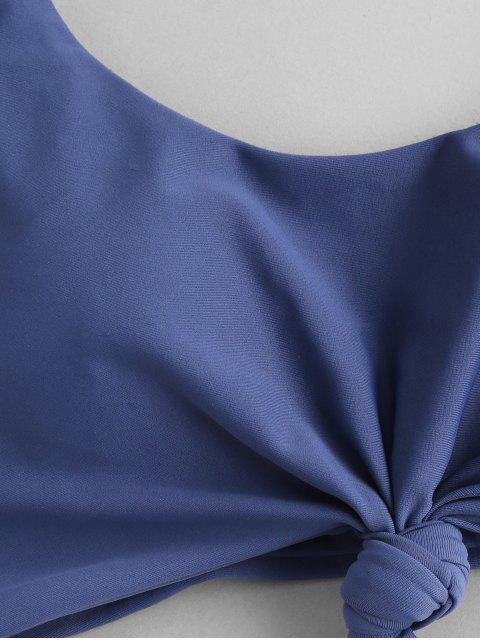 ZAFUL Bikini de Tres Piezas con Nudo Acanalado - Azul de Koi S Mobile