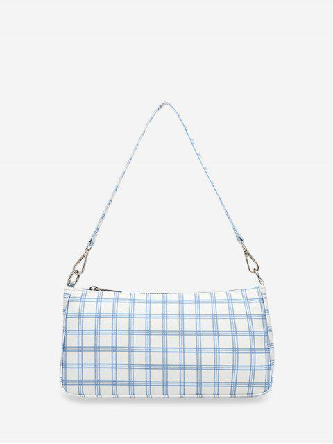 outfit Grid Print One Shoulder Bag - WHITE  Mobile