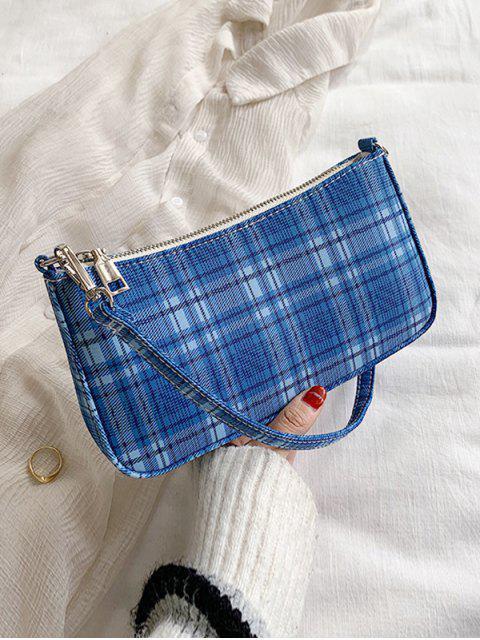 hot Grid Print One Shoulder Bag - SILK BLUE  Mobile