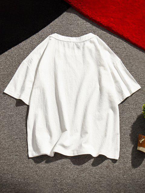 T-Shirt con Ricamo Grafico - Bianca 2XL Mobile