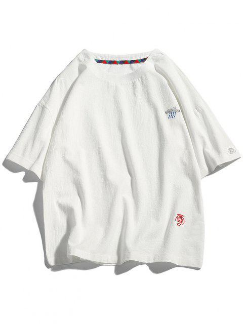 T-Shirt con Ricamo Grafico - Bianca 4XL Mobile
