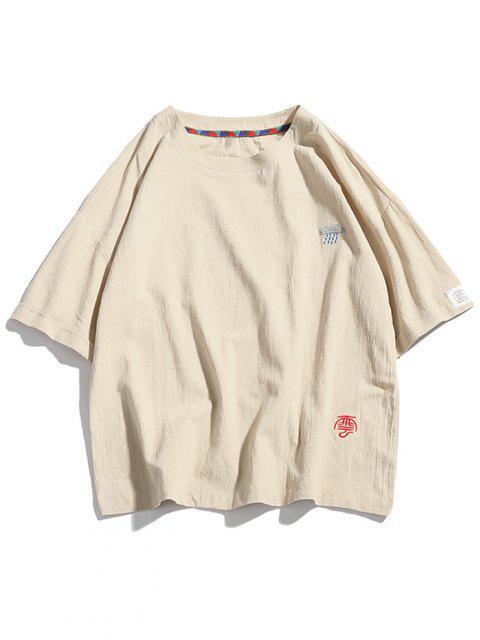 T-Shirt con Ricamo Grafico - Beige 4XL Mobile