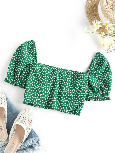 online ZAFUL Ditsy Print Ruffle Button Up Cupped Crop Blouse - JUNGLE GREEN XL Mobile