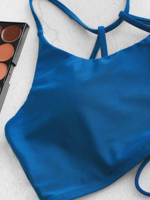 ZAFUL Maillot de Bain Tankini Croisé à Bretelle à Taille Haute - Bleu Océan L Mobile