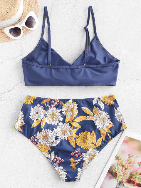 Maillot de Bain Bikini Fleuri Superposé de Grande Taille à Volants - Bleu XL Mobile