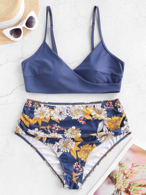 buy Floral Side Boning Ruched Surplice Plus Size Bikini Swimsuit - BLUE 2XL Mobile