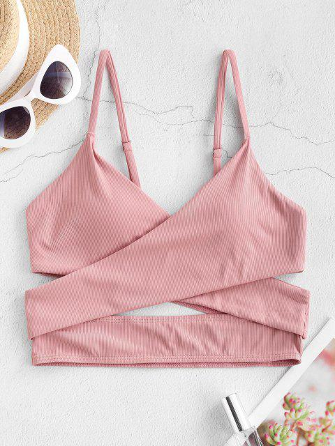 ZAFUL Ribbed Crossover Cropped Bikini Top - ارتفع S Mobile