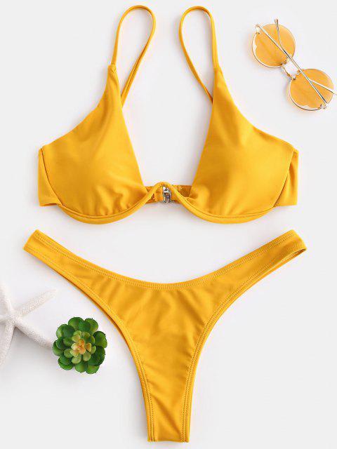 Hochdrückender Tauchbadeanzug - Helles Gelb M Mobile